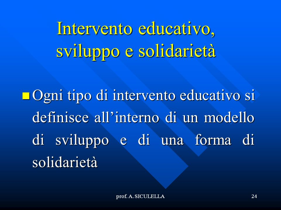 Intervento educativo, sviluppo e solidarietà