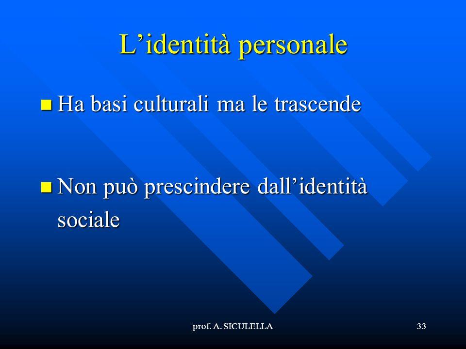 L'identità personale Ha basi culturali ma le trascende