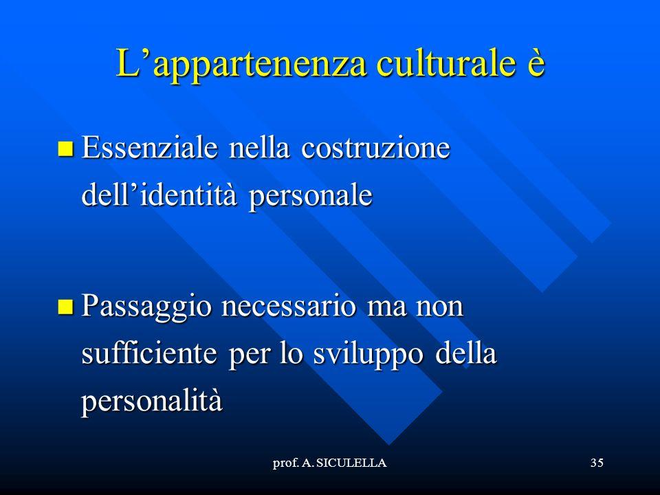 L'appartenenza culturale è