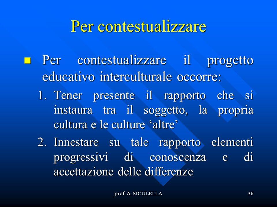 Per contestualizzare Per contestualizzare il progetto educativo interculturale occorre: