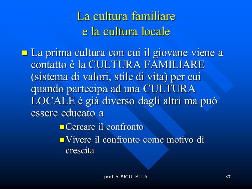 La cultura familiare e la cultura locale