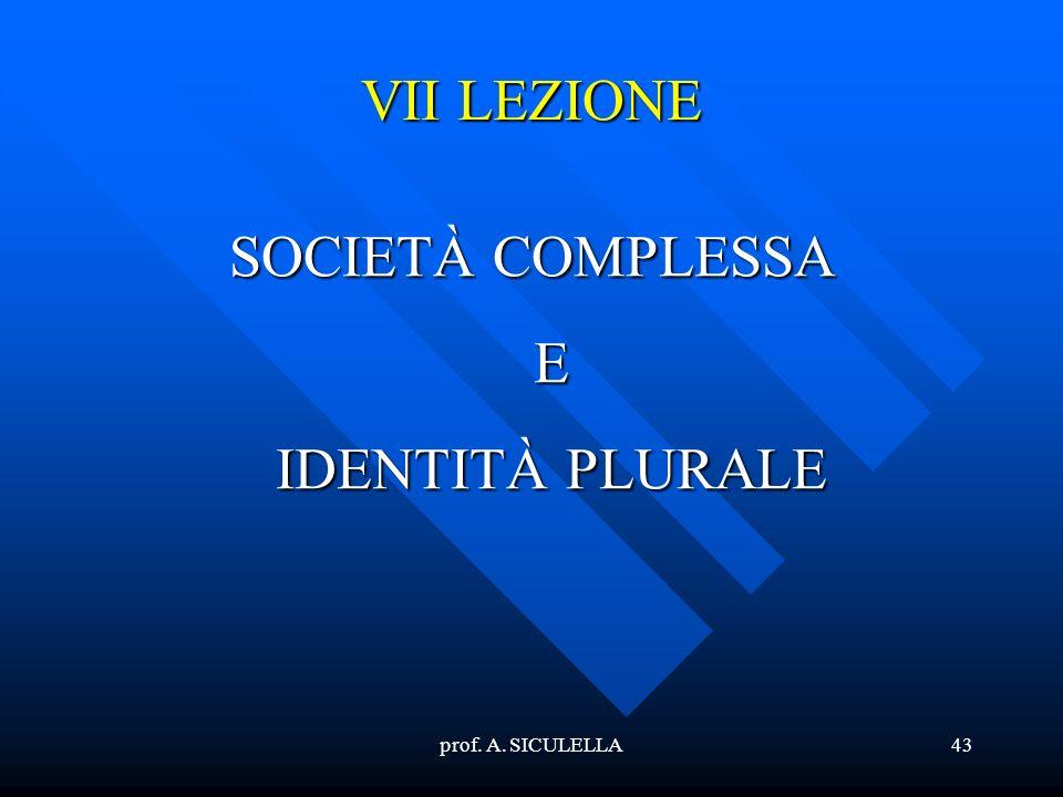SOCIETÀ COMPLESSA E IDENTITÀ PLURALE