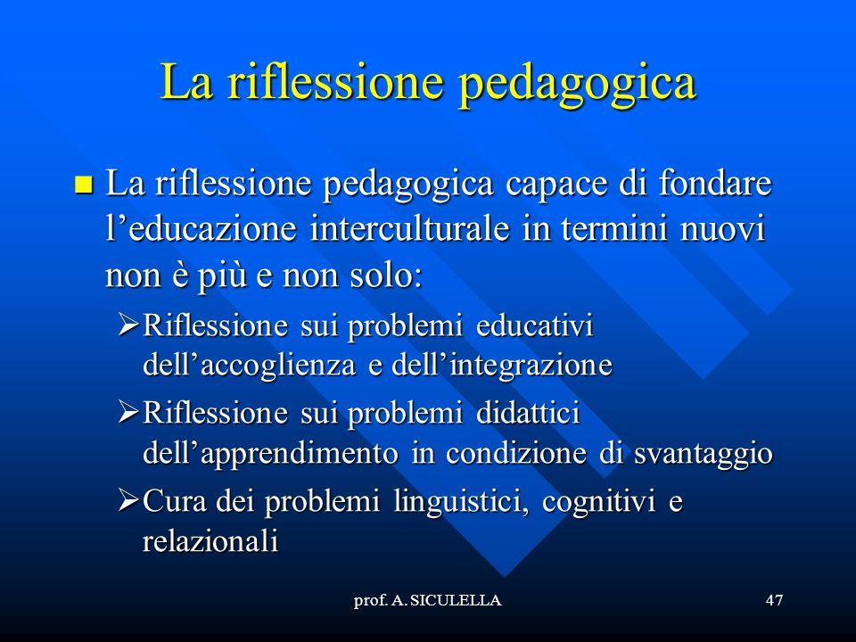 La riflessione pedagogica