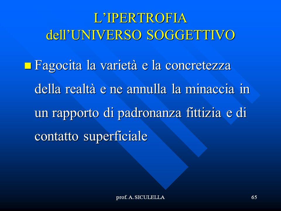 L'IPERTROFIA dell'UNIVERSO SOGGETTIVO