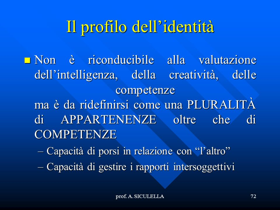 Il profilo dell'identità