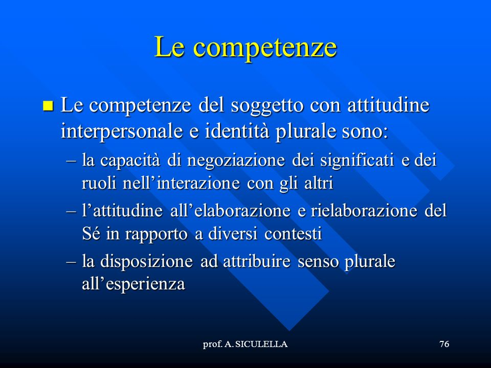 Le competenze Le competenze del soggetto con attitudine interpersonale e identità plurale sono: