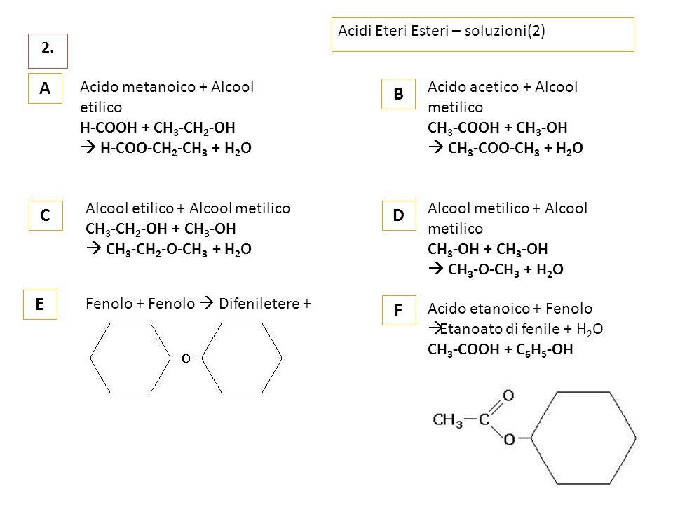 A B C D E F Acidi Eteri Esteri – soluzioni(2) 2.