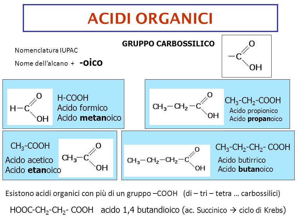 ACIDI ORGANICI H-COOH CH3-CH2-COOH Acido formico Acido metanoico