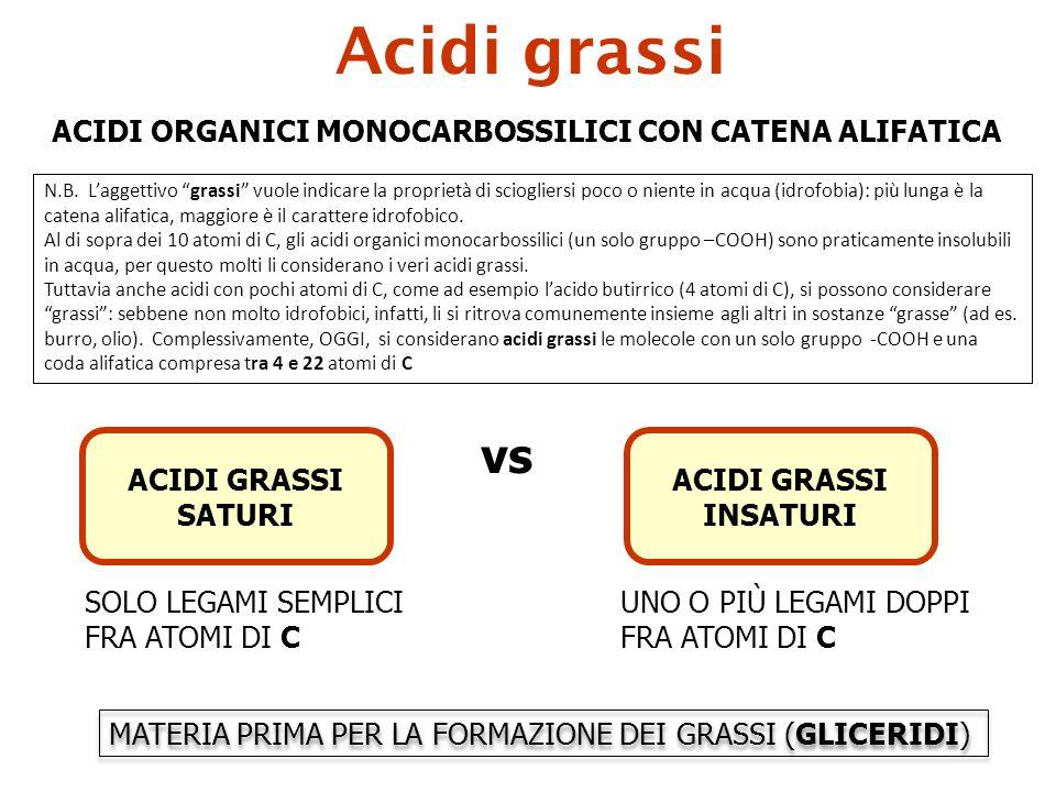 Acidi grassi vs ACIDI ORGANICI MONOCARBOSSILICI CON CATENA ALIFATICA