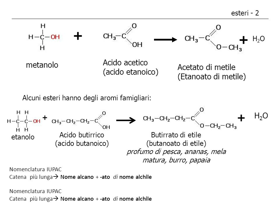 + + + Acido acetico (acido etanoico) metanolo Acetato di metile