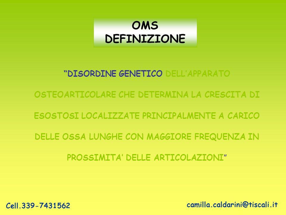OMS DEFINIZIONE DISORDINE GENETICO DELL'APPARATO