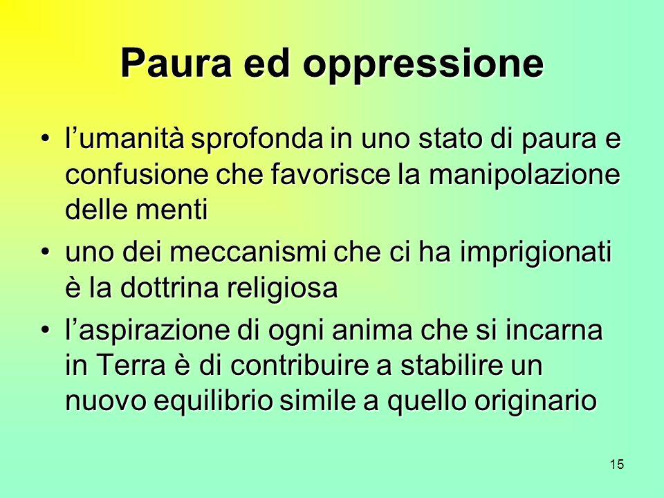 Paura ed oppressione l'umanità sprofonda in uno stato di paura e confusione che favorisce la manipolazione delle menti.