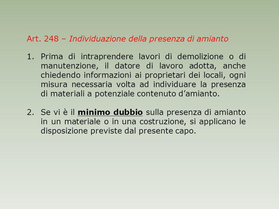 Art. 248 – Individuazione della presenza di amianto