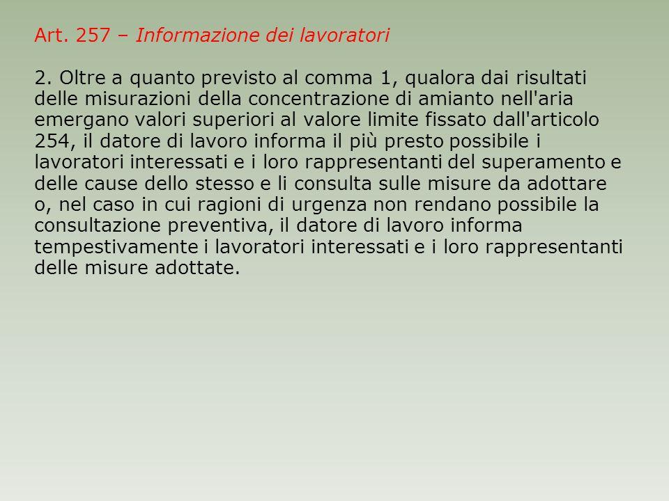 Art. 257 – Informazione dei lavoratori 2