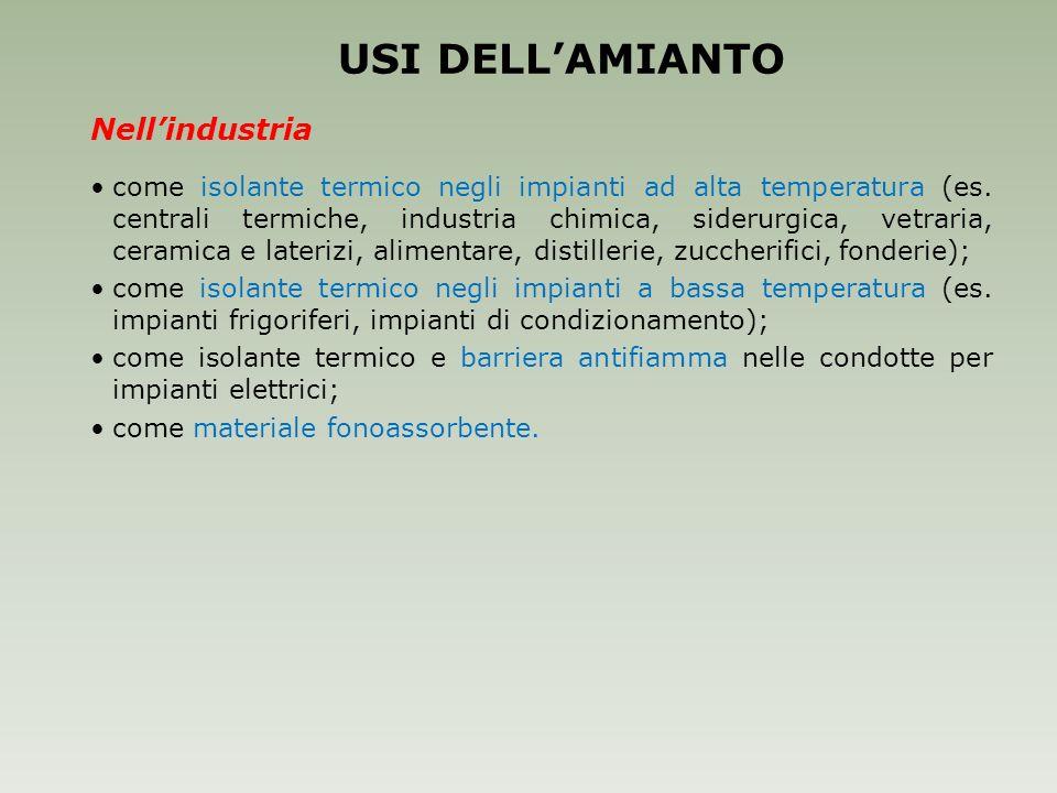 USI DELL'AMIANTO Nell'industria