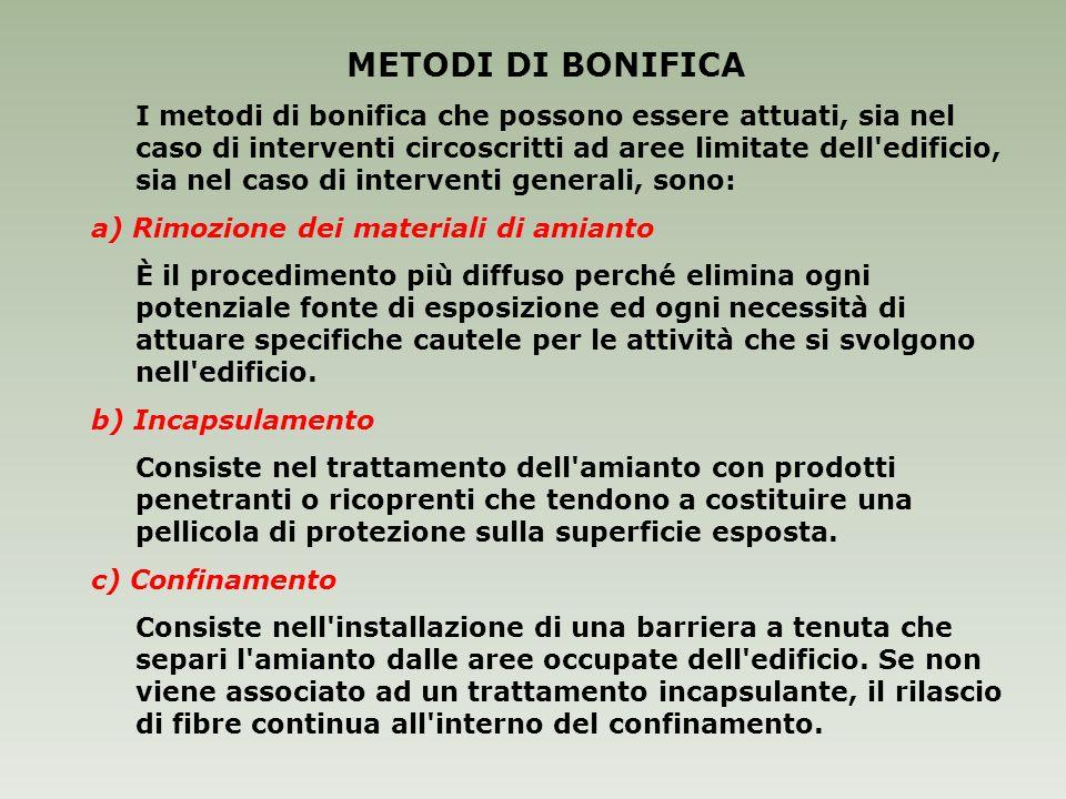 METODI DI BONIFICA a) Rimozione dei materiali di amianto