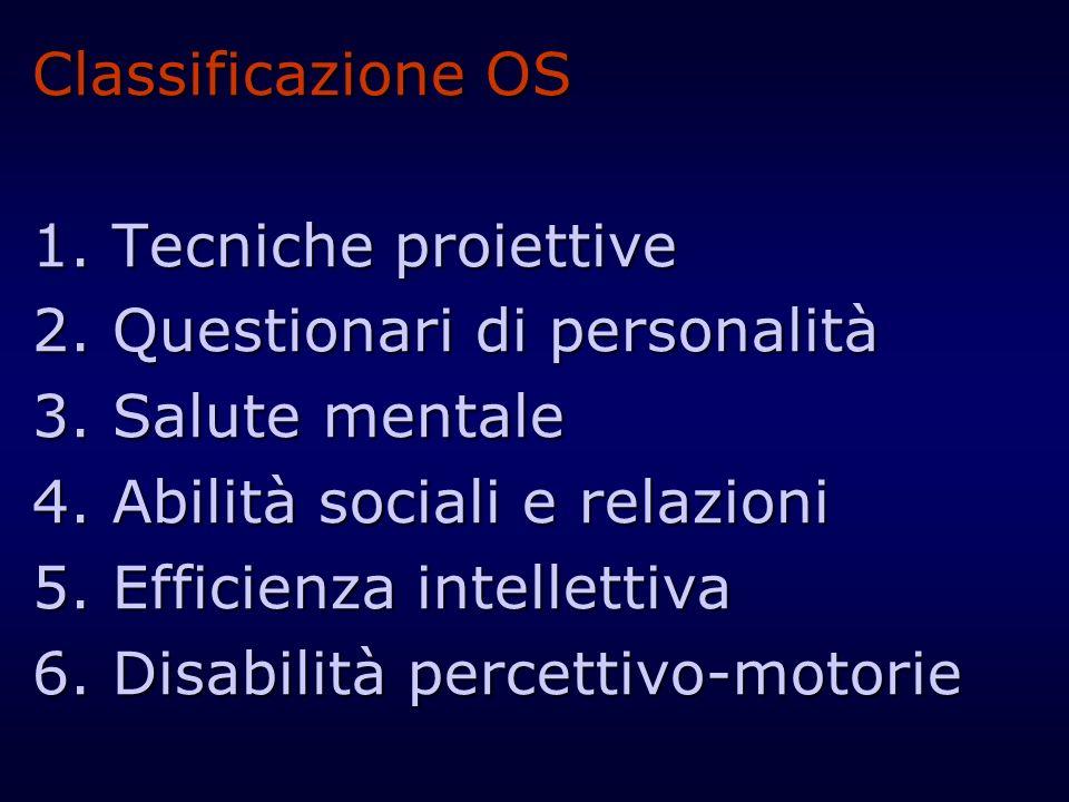 Classificazione OS1. Tecniche proiettive. 2. Questionari di personalità. 3. Salute mentale. 4. Abilità sociali e relazioni.