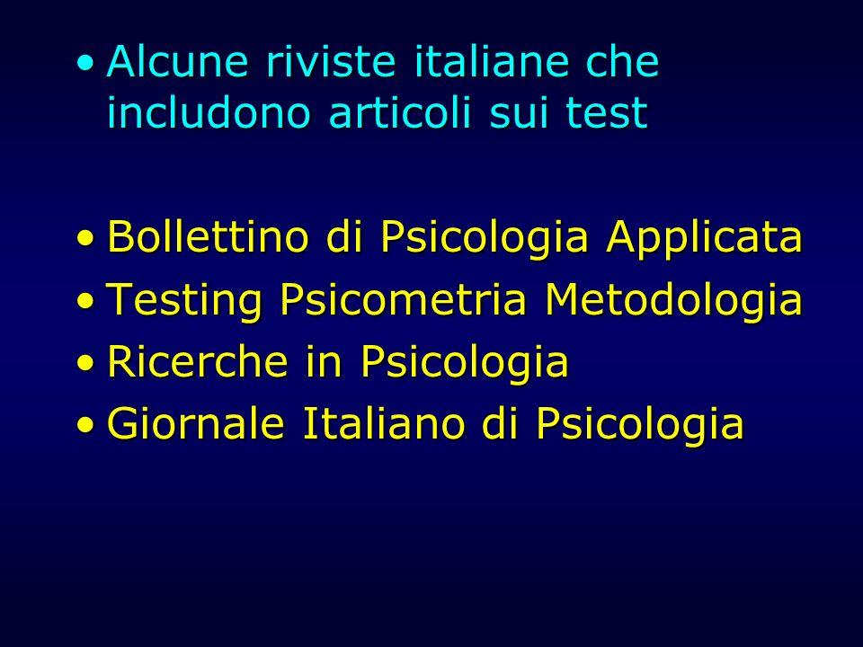 Alcune riviste italiane che includono articoli sui test