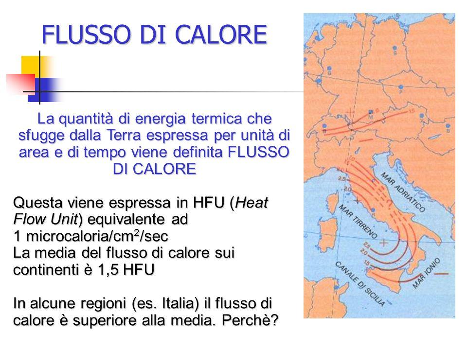 FLUSSO DI CALORE La quantità di energia termica che sfugge dalla Terra espressa per unità di area e di tempo viene definita FLUSSO DI CALORE.