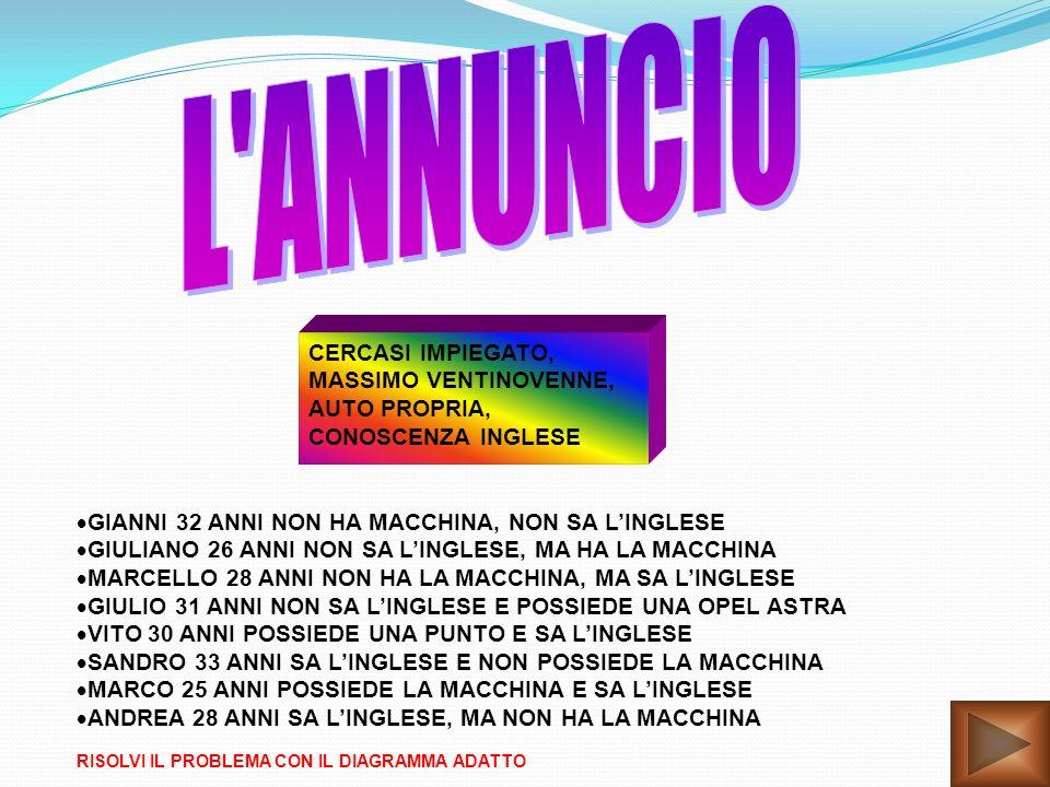 L ANNUNCIO CERCASI IMPIEGATO, MASSIMO VENTINOVENNE, AUTO PROPRIA,