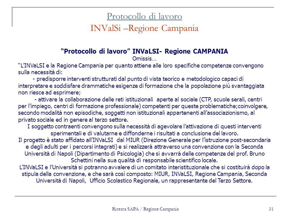 Protocollo di lavoro INValSi –Regione Campania