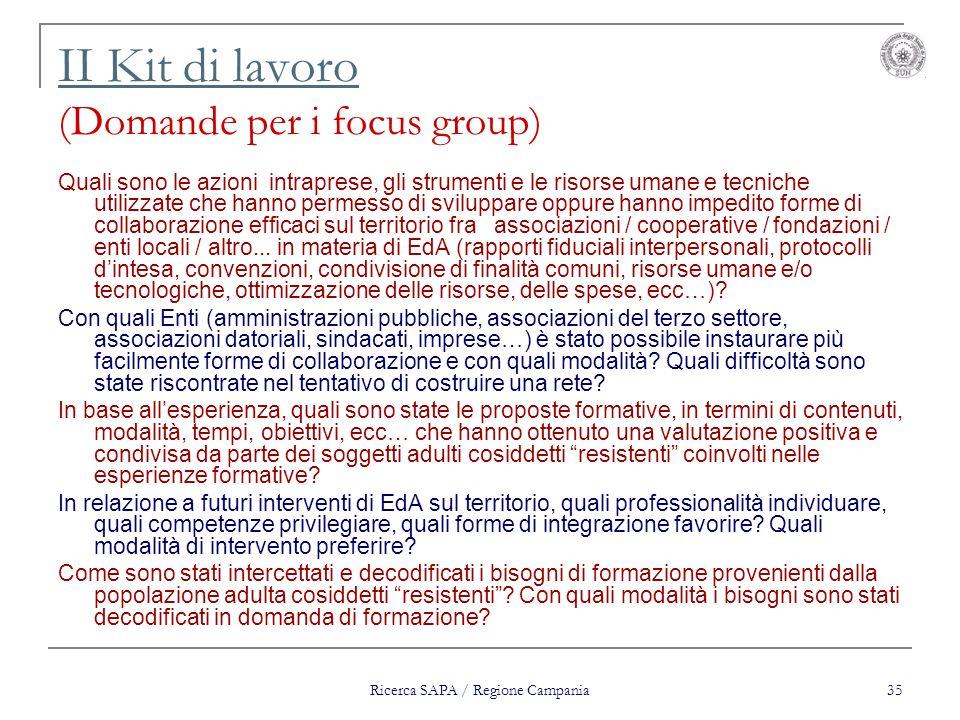II Kit di lavoro (Domande per i focus group)