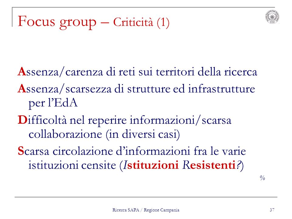 Focus group – Criticità (1)