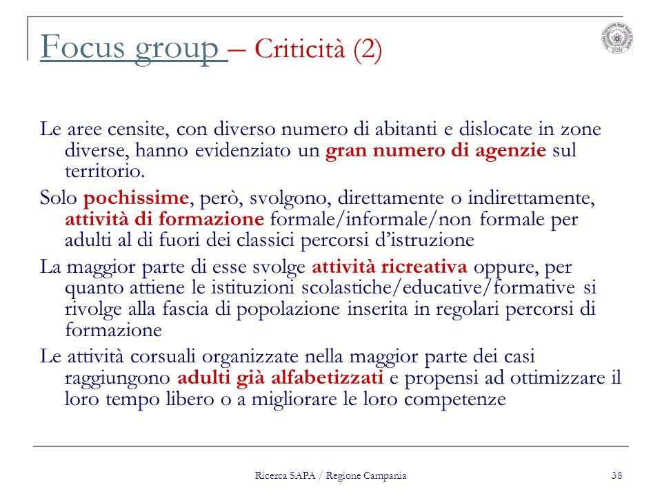 Focus group – Criticità (2)