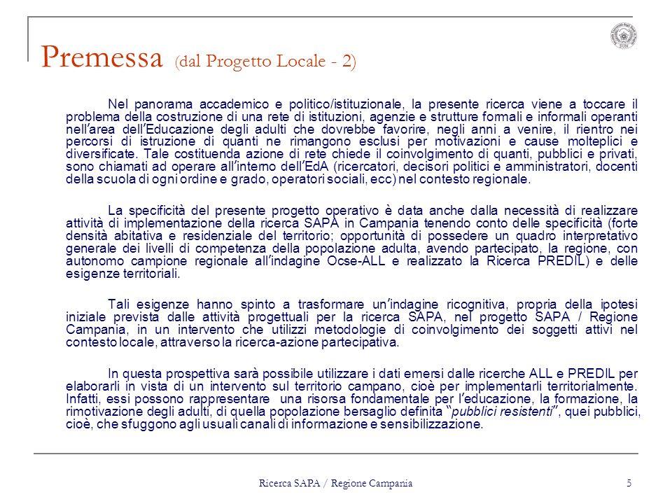Premessa (dal Progetto Locale - 2)