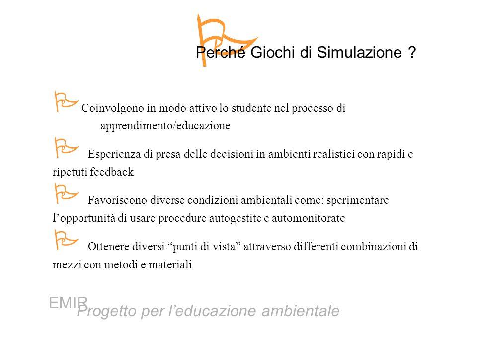  Perché Giochi di Simulazione Coinvolgono in modo attivo lo studente nel processo di apprendimento/educazione.