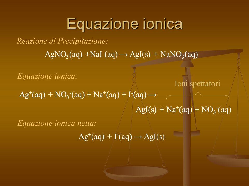 Equazione ionica Reazione di Precipitazione: