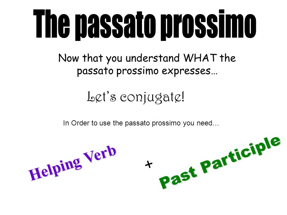 Past Participle Helping Verb + The passato prossimo Let's conjugate!