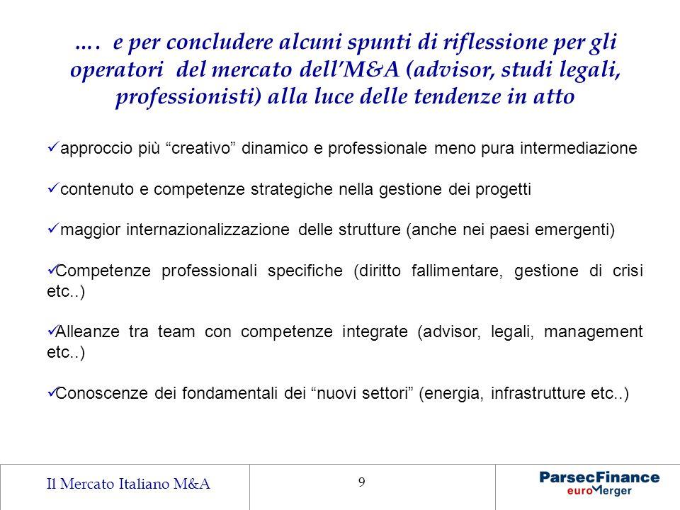 …. e per concludere alcuni spunti di riflessione per gli operatori del mercato dell'M&A (advisor, studi legali, professionisti) alla luce delle tendenze in atto