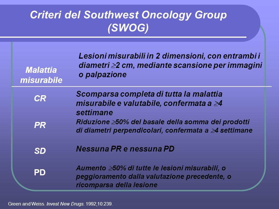 Criteri del Southwest Oncology Group (SWOG)
