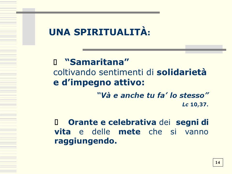 UNA SPIRITUALITÀ: ð Samaritana coltivando sentimenti di solidarietà e d'impegno attivo: