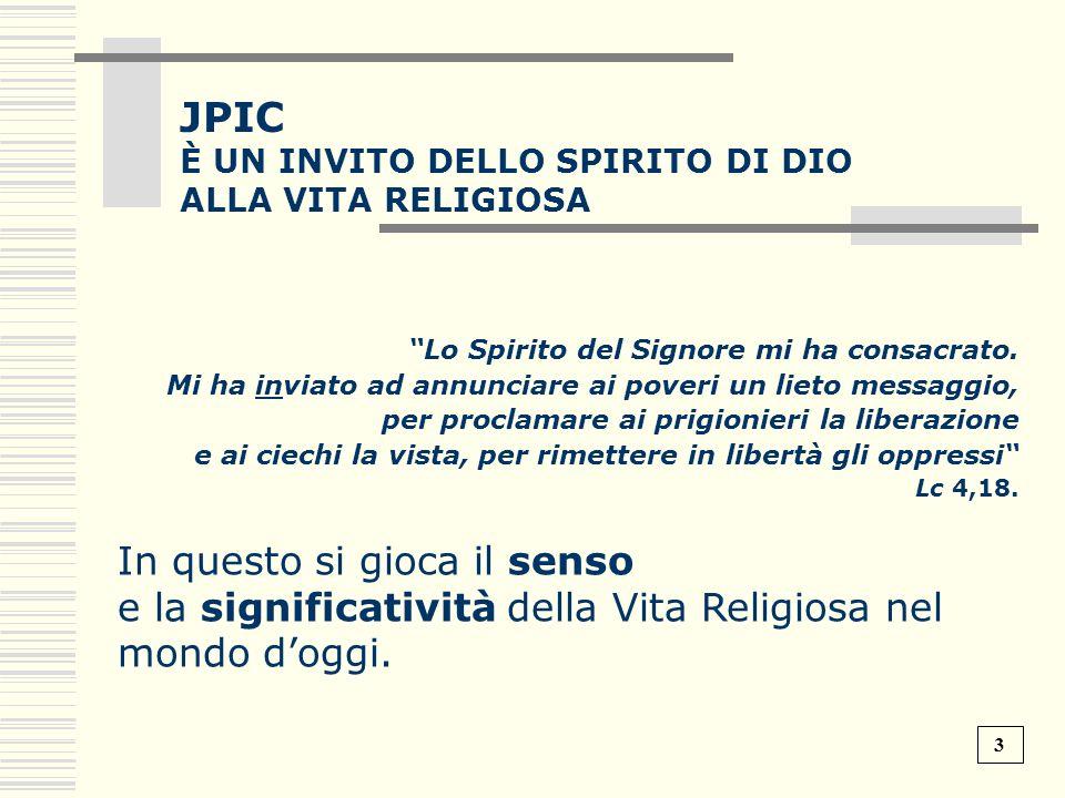 JPIC e la significatività della Vita Religiosa nel mondo d'oggi.