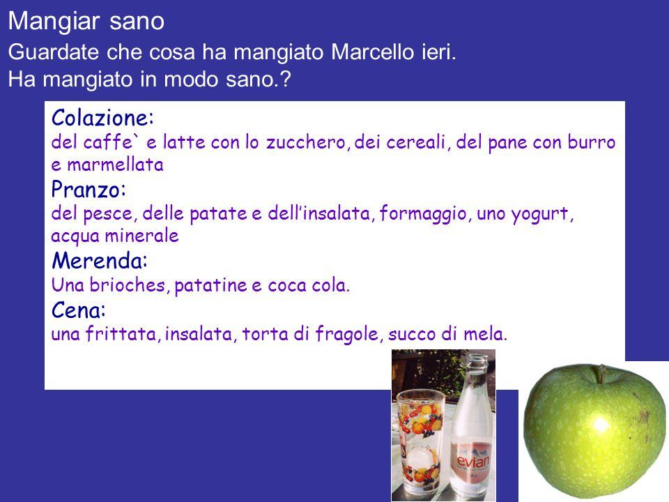 Mangiar sano Guardate che cosa ha mangiato Marcello ieri.