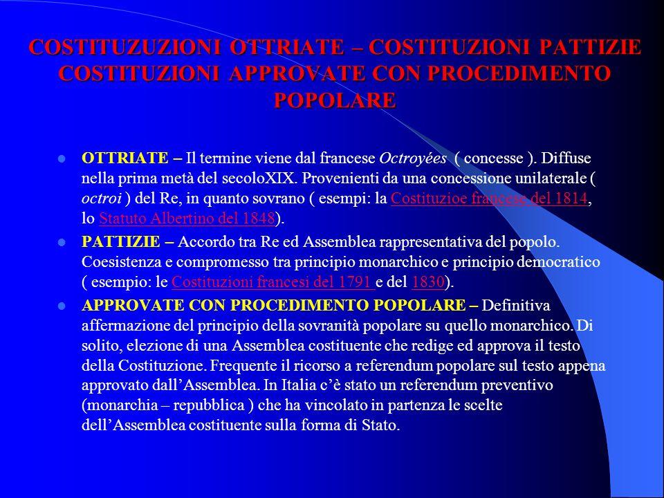 COSTITUZUZIONI OTTRIATE – COSTITUZIONI PATTIZIE COSTITUZIONI APPROVATE CON PROCEDIMENTO POPOLARE