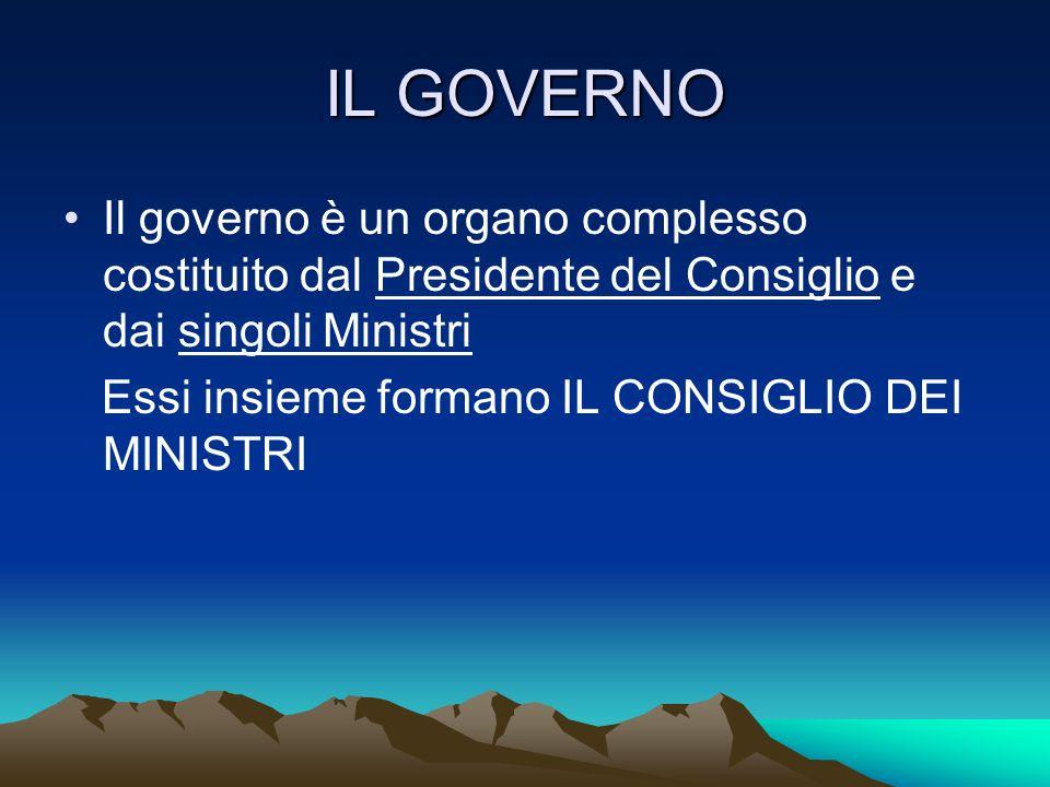 IL GOVERNO Il governo è un organo complesso costituito dal Presidente del Consiglio e dai singoli Ministri.