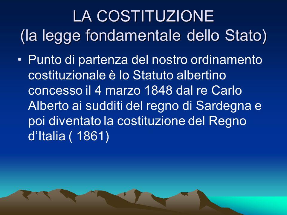LA COSTITUZIONE (la legge fondamentale dello Stato)