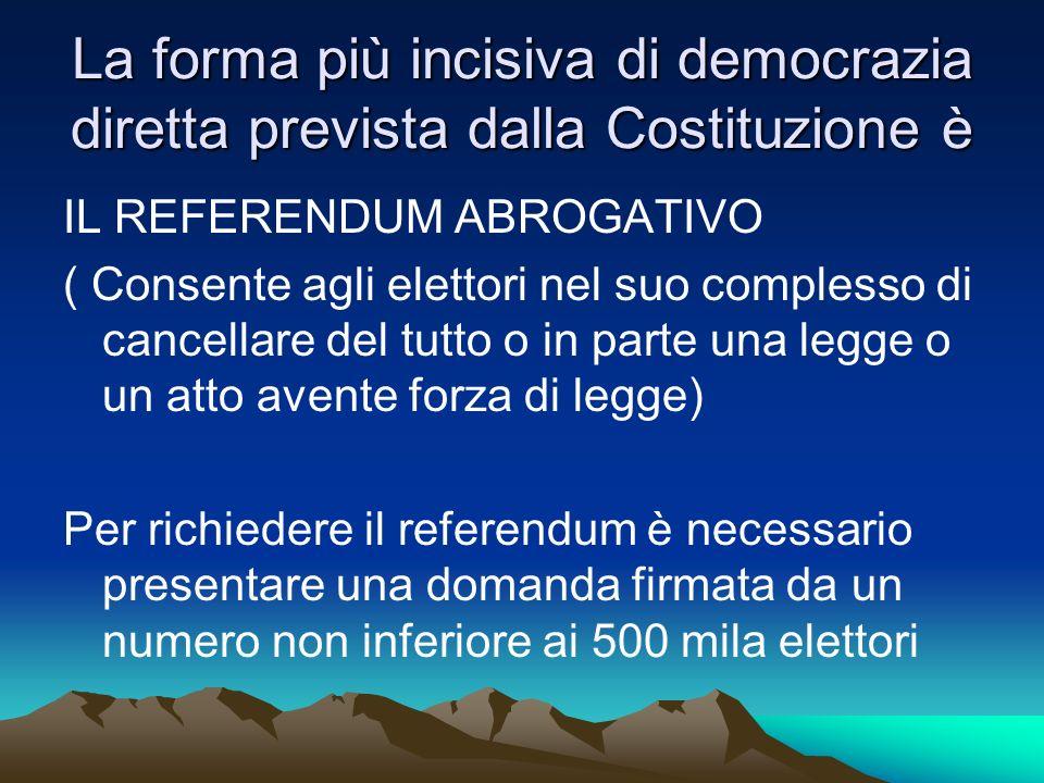La forma più incisiva di democrazia diretta prevista dalla Costituzione è