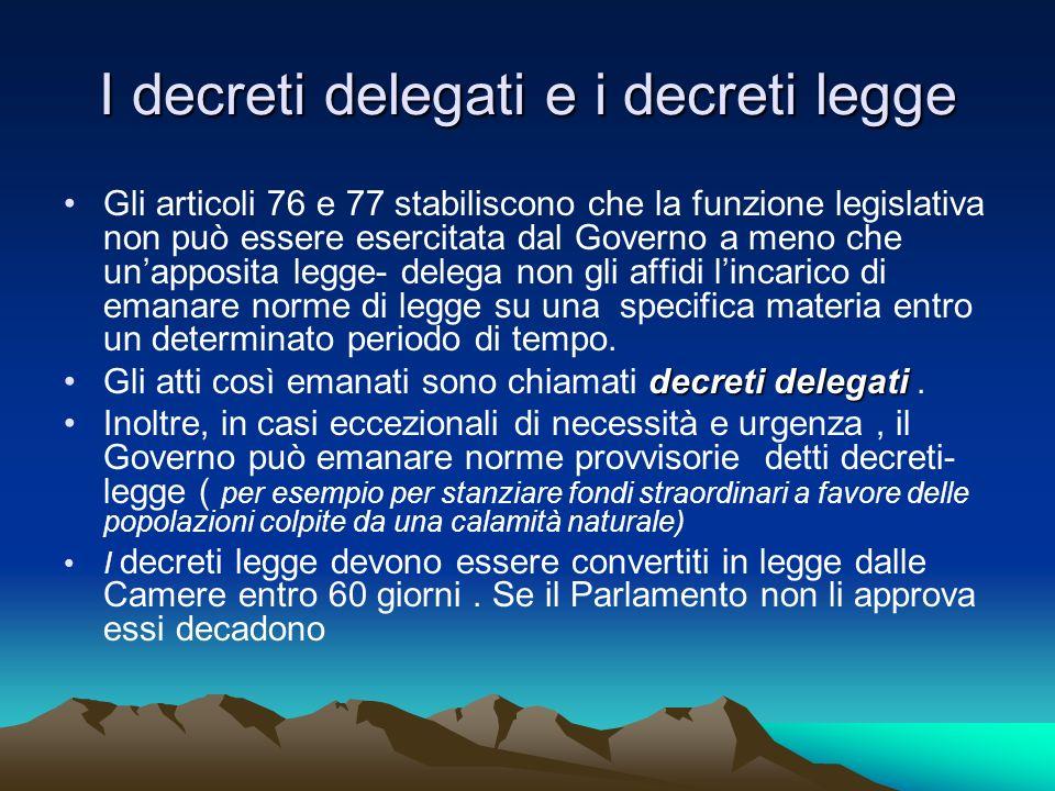 I decreti delegati e i decreti legge