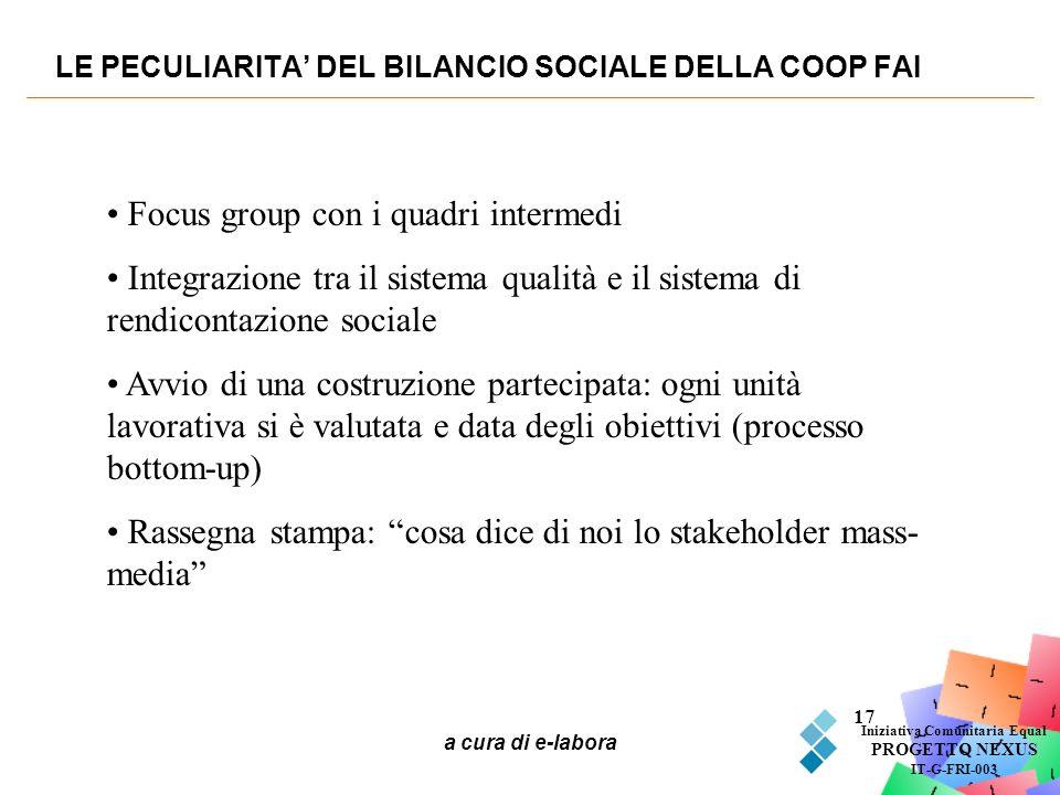 LE PECULIARITA' DEL BILANCIO SOCIALE DELLA COOP FAI