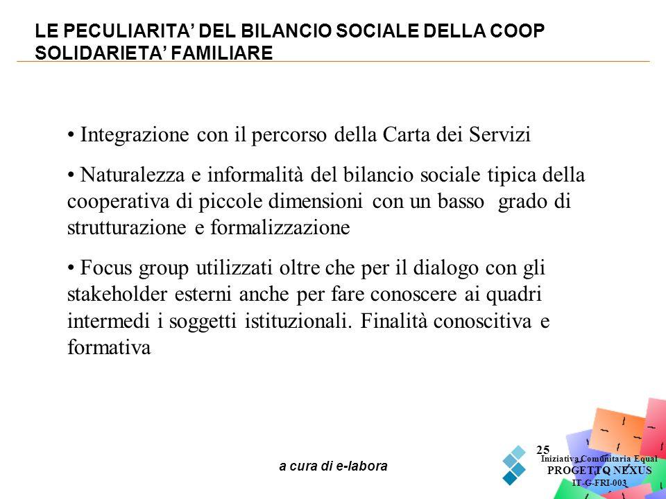 LE PECULIARITA' DEL BILANCIO SOCIALE DELLA COOP SOLIDARIETA' FAMILIARE