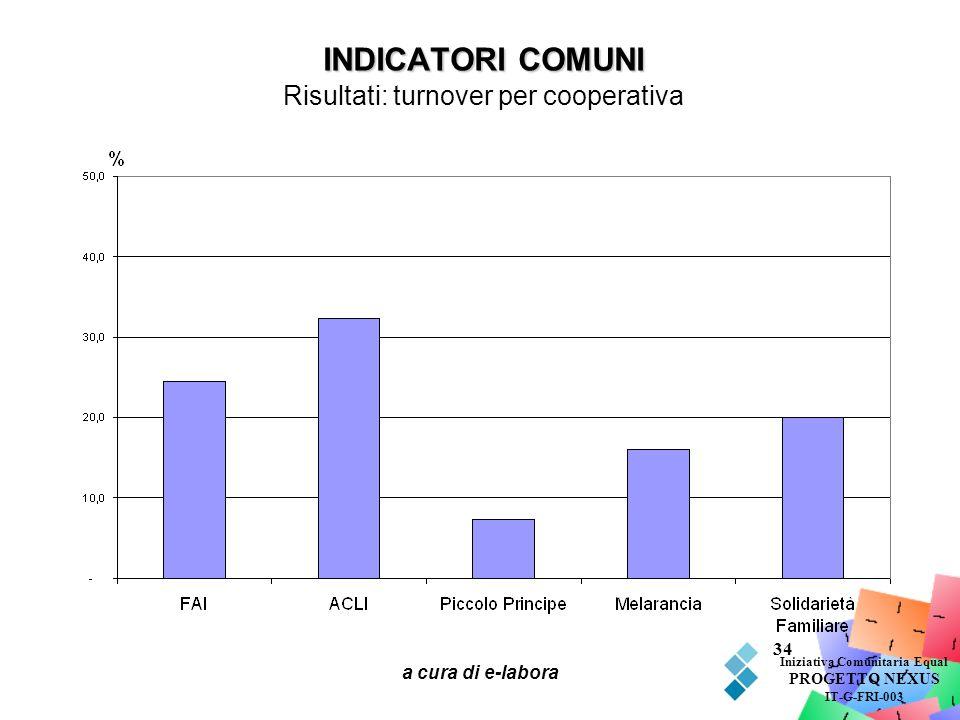 INDICATORI COMUNI Risultati: turnover per cooperativa