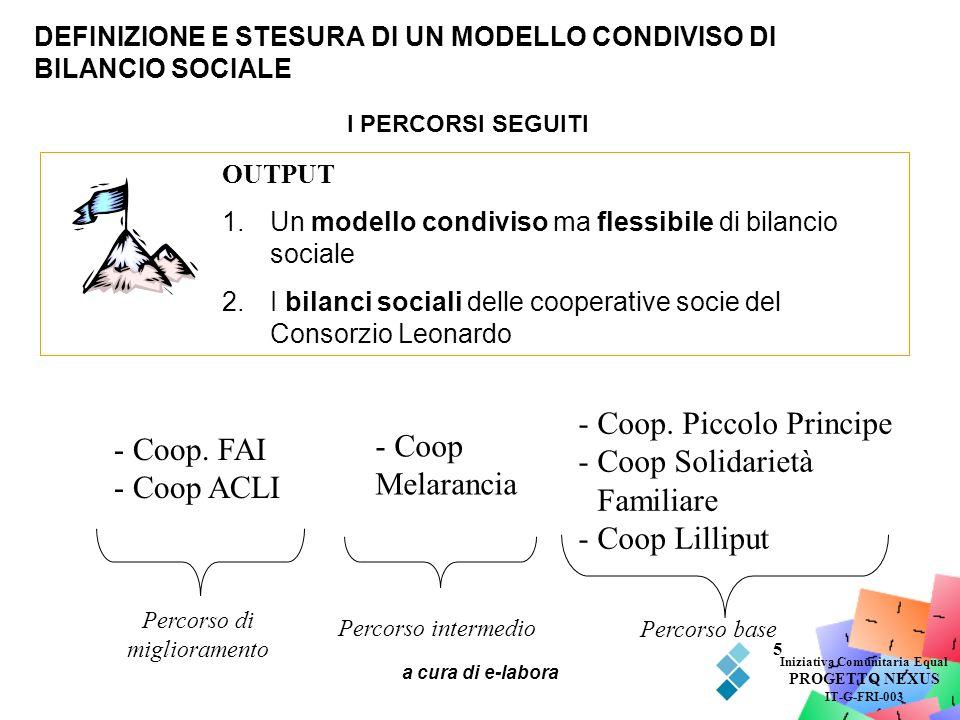 DEFINIZIONE E STESURA DI UN MODELLO CONDIVISO DI BILANCIO SOCIALE