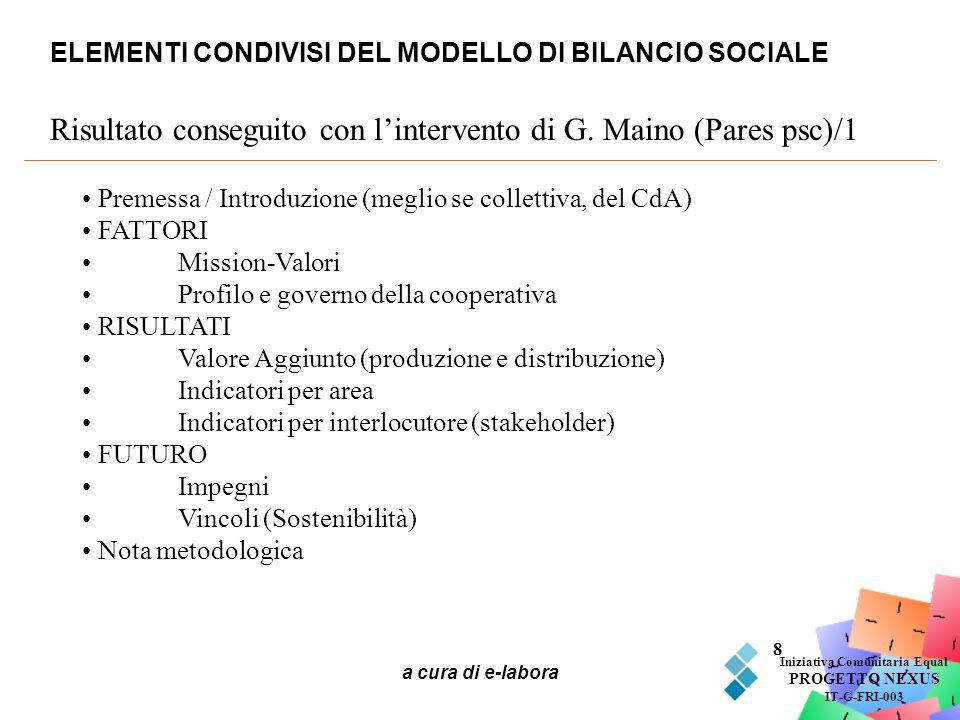 ELEMENTI CONDIVISI DEL MODELLO DI BILANCIO SOCIALE