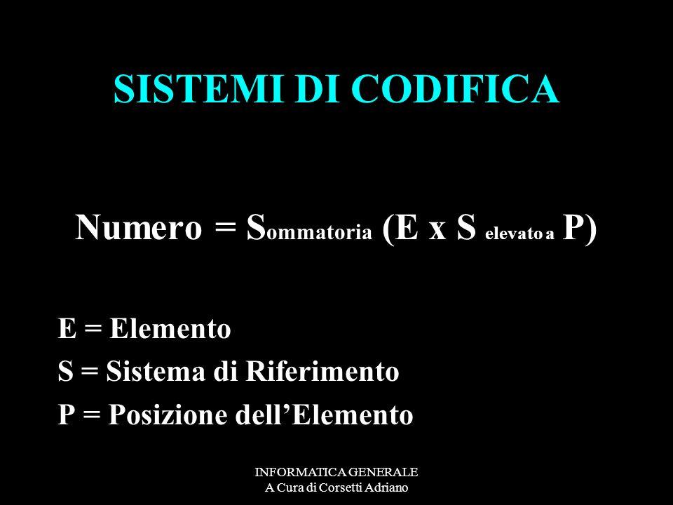 Numero = Sommatoria (E x S elevato a P)