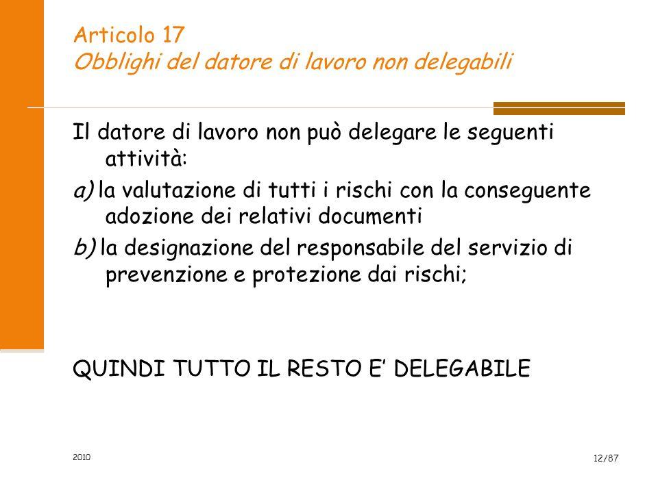 Articolo 17 Obblighi del datore di lavoro non delegabili