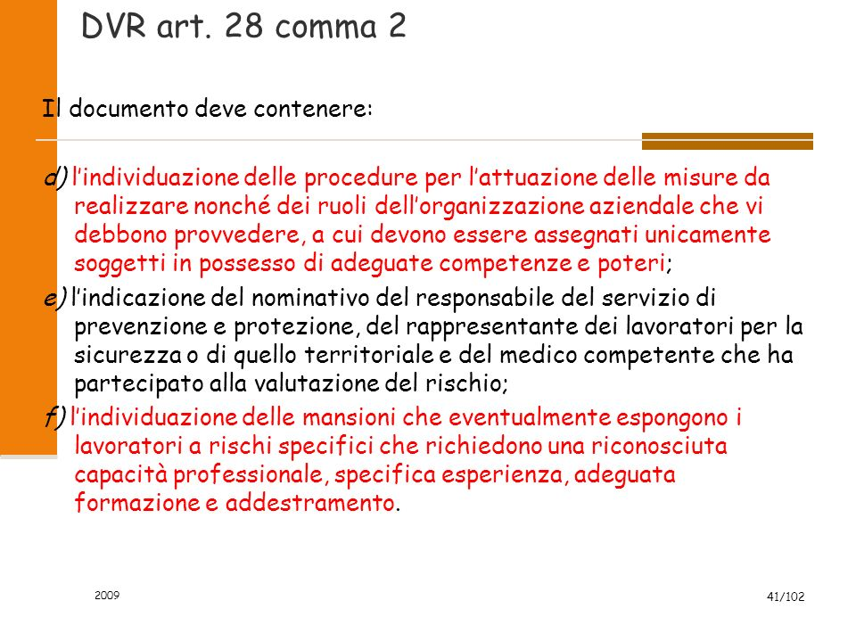 DVR art. 28 comma 2 Il documento deve contenere:
